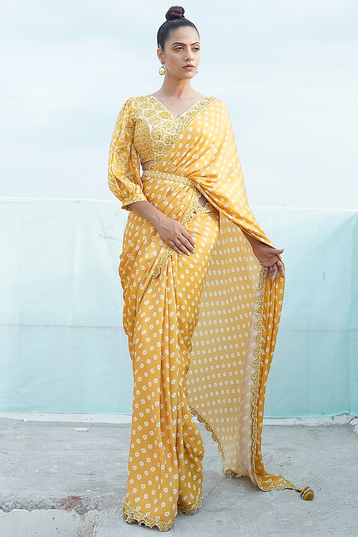 Mustard Yellow Embroidered & Printed Saree Set With Belt by Punit Balana