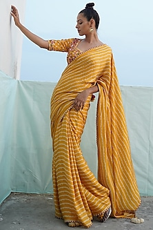 Mustard Yellow Embroidered Saree Set by Punit Balana