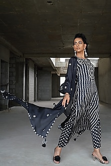 Black Embroidered & Printed Kurta Set by Punit Balana