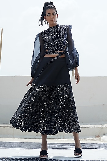 Black Top With Embroidered Skirt by Punit Balana