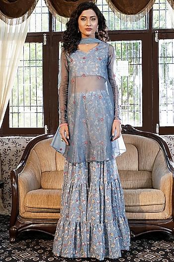 Dusty Blue Grey Floral Printed Sharara Set by Piyanshu Bajaj