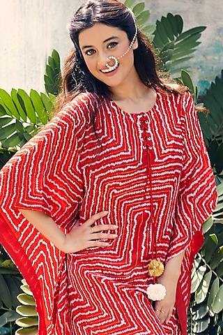 Red Hand Embroidered Bandhani Kaftan With Inner by Pink City By Sarika