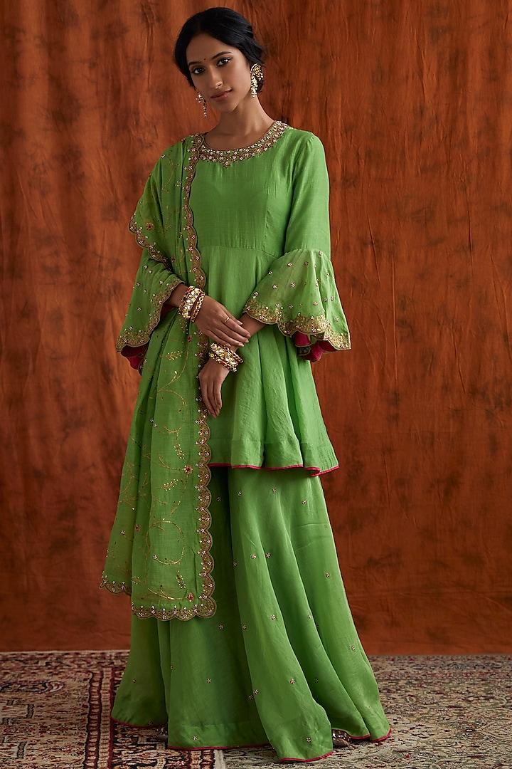 Green Pearl Embroidered Sharara Set by Pink City By Sarika