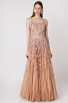 Old Rose Pink Embroidered Gown by Priya Chhabria