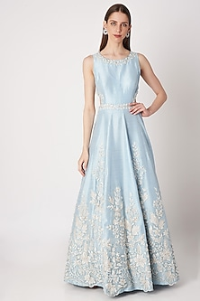 Ice Blue Embroidered Gown With Belt by Priya Chhabria