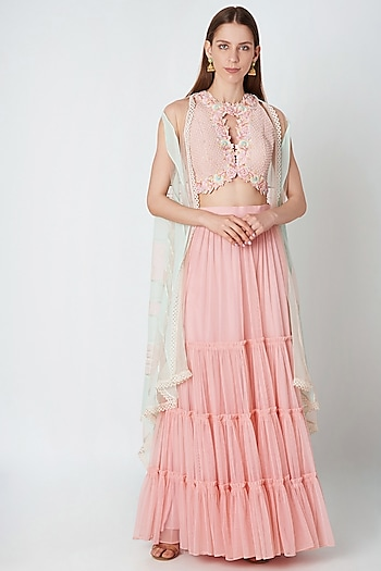 Blush Pink Crop Top With Skirt & Cape Jacket by Priya Chhabria