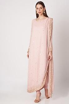 Blush Pink Sequins Embroidered Saree Kurta Set by Priya Chhabria-READY TO SHIP