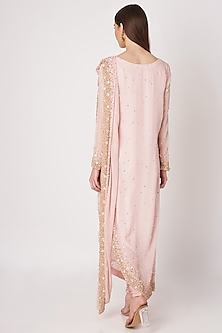 Blush Pink Sequins Embroidered Saree Kurta Set by Priya Chhabria