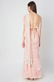 Blush Pink Embroidered Saree Set by Priya Chhabria