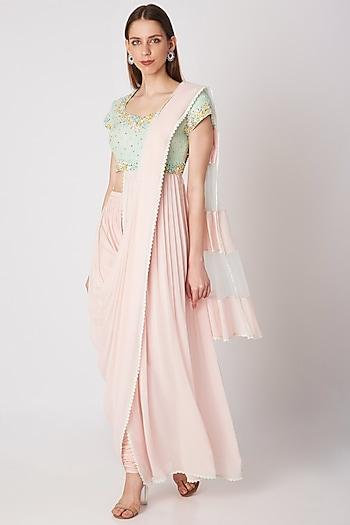 Blush Pink Embroidered Pant Saree Set by Priya Chhabria