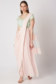 Blush Pink Embroidered Pant Saree Set by Priya Chhabria