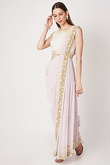 Mauve Sequins Embroidered Pant Saree With Belt by Priya Chhabria