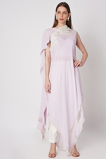Lavender Embroidered Tunic With Pants & Slip by Priya Chhabria
