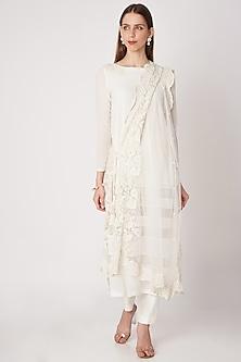 White Embroidered Kurta Set by Priya Chhabria-READY TO SHIP