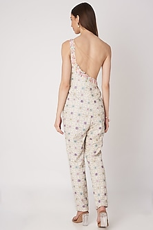 White Chikankari Embroidered Jumpsuit by Priya Chhabria