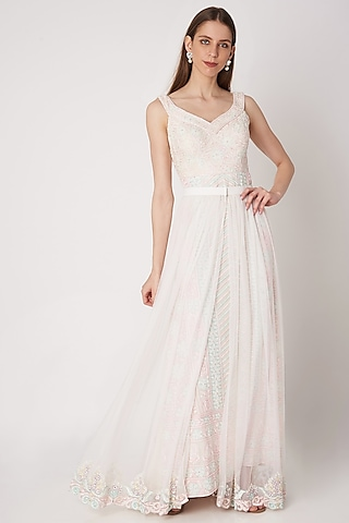 White Embroidered Gown With Overlay Skirt by Priya Chhabria