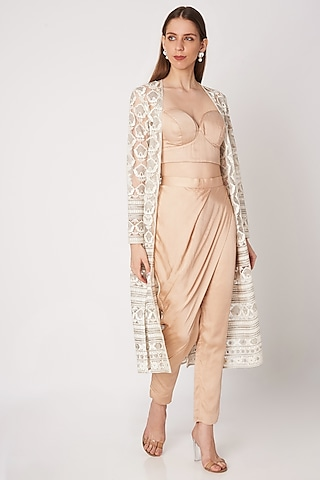 Nude Bralette With Pants & Embroidered Jacket by Priya Chhabria