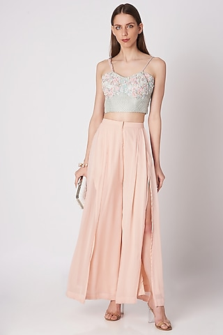 Powder Blue Embroidered Crop Top With Blush Pink Palazzo Pants by Priya Chhabria