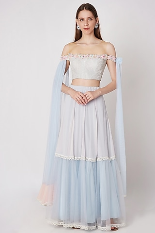 Powder Blue Embroidered Crop Top With Skirt by Priya Chhabria