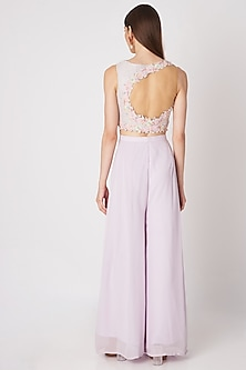 Purple Embroidered Crop Top Set by Priya Chhabria