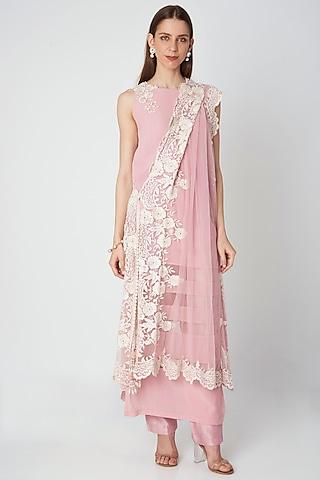 Blush Pink Embroidered Kurta Set by Priya Chhabria