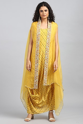 Yellow Embroidered Cowl Kurta With Cape by Petticoat Lane