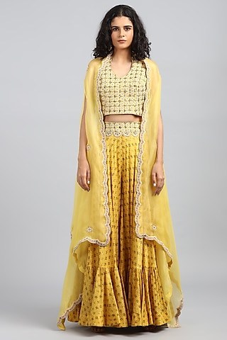 Yellow Embroidered & Printed Sharara Pants by Petticoat Lane
