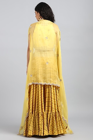 Yellow Embroidered & Printed Sharara Pants by Petticoat Lane