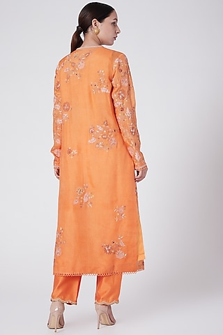 Orange Embroidered Kurta With Pants by Petticoat Lane
