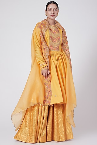 Mango Yellow Brocade Sharara Set by Petticoat Lane