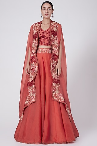 Tomato Red Embroidered Skirt Set by Petticoat Lane