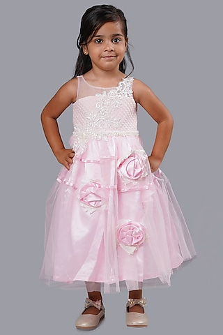 Baby Pink Hand Embellished Gown by Pink Cow