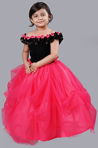 Pink & Black Velvet Gown by Pink Cow