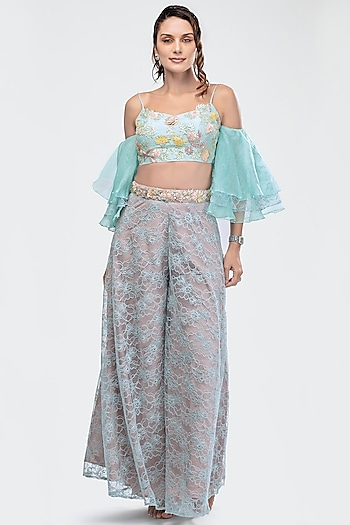 Sky Blue Embroidered Crop Top WIth Flared Pants  by Priya Chhabria