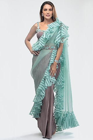 Sky Blue Embroidered Pre-Stitched Saree Set With Belt by Priya Chhabria