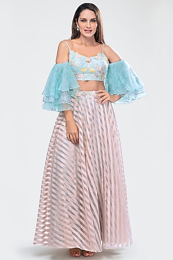 Beige Embroidered Crop Top With Skirt by Priya Chhabria