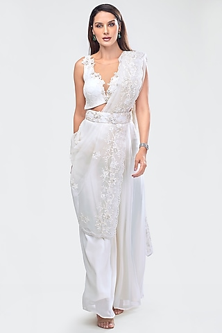 White Embroidered Crop Top With Pants, Dupatta & Belt by Priya Chhabria