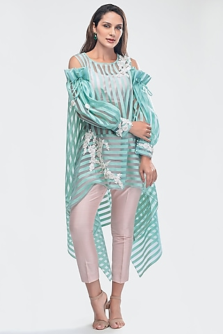 Sky Blue Embroidered Tunic With Crop Top & Pants by Priya Chhabria