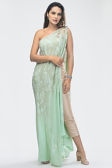 Mint Green & Beige Embroidered Kurta Set by Priya Chhabria