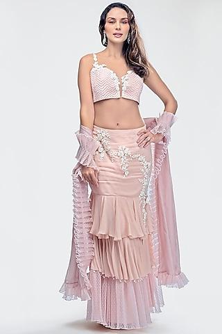 Blush Pink Embroidered Skirt Set by Priya Chhabria