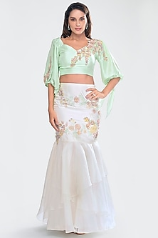 Mint Green & Ivory Embroidered Skirt Set by Priya Chhabria