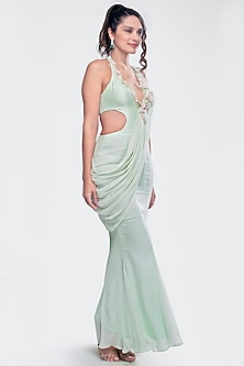 Mint Green Embroidered Saree Gown by Priya Chhabria