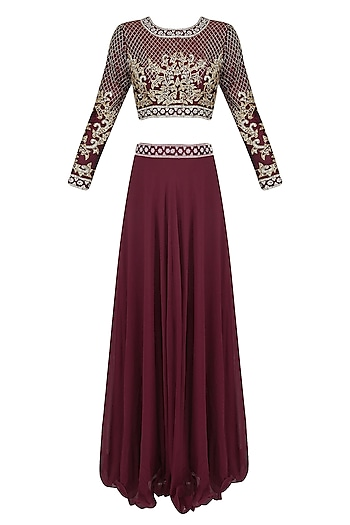 Wine and Gold Embroidered Crop Top and Lehenga Skirt Set by Priya Chhabria