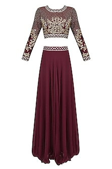 Wine and Gold Embroidered Crop Top and Lehenga Skirt Set by Priya Chhabria