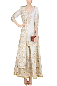 Ivory and Gold Gota Patti Embroidered Kurta and Sharara Pants Set by Priya Chhabria