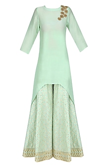 Mint Green Gota Patti Work High Low Kurta and Sharara Pants Set by Priya Chhabria