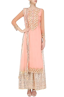 Peach Floral Embroidered Kurta and Sharara Pants Set by Priya Chhabria