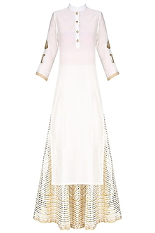 Ivory Lotus Embroidered Kurta and Gota Patti Work Skirt Set by Priya Chhabria