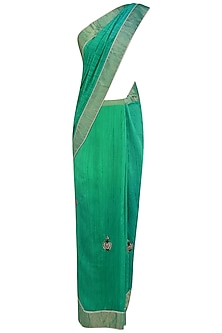 Teal Blue Kundan Studded Motifs and Peacock Woven Saree by Priya Chhabria
