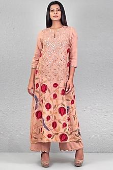 Dusty Pink Aari Embroidered Kurta Set by Purvi Doshi